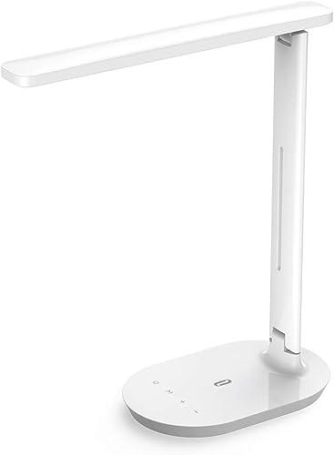 TaoTronics Lampe de Bureau à LED, Lampe de Table avec 5 Niveaux de Luminosité et 3 Modes de Couleurs Réglable, Lampe ...