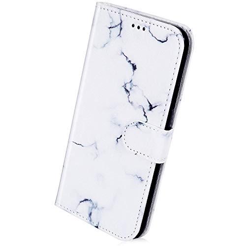 Herbests Kompatibel mit Samsung Galaxy A21S Handyhülle Lederhülle Retro Bunt Ledertasche Brieftasche Schutzhülle Klapphülle Kartenfach Bookstyle Handytasche Etui mit Magnet,Weiß Marmor