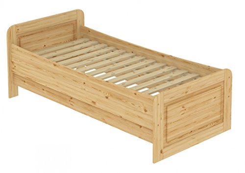 Erst-Holz® Seniorenbett extra hoch 120x200 Einzelbett Holzbett Massivholz Kiefer Bett mit Rollrost 60.42-12
