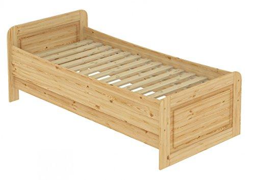 Erst-Holz® Seniorenbett extra hoch 90x200 Einzelbett Massivholz Kiefer Bett mit Rollrost 60.42-09