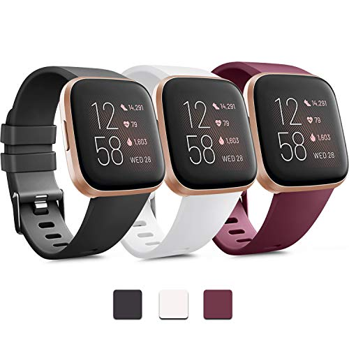 Pack 3 Soft Silicone Bands for Fitbit Versa 2 / Fitbit Versa/Fitbit Versa Lite Classic Adjustable Sport Bands for Women Men Small Large(Without Tracker) (Small, Black+White+Wine Red)