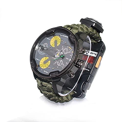 WTYU Reloj Trenzado, Reloj De Esfera Grande Táctico para Hombre, Survival Multi-Funcional Aire Libre Camuflaje Relojes Deportivos, Camping Y Aventura Al Aire Libre,Reloj