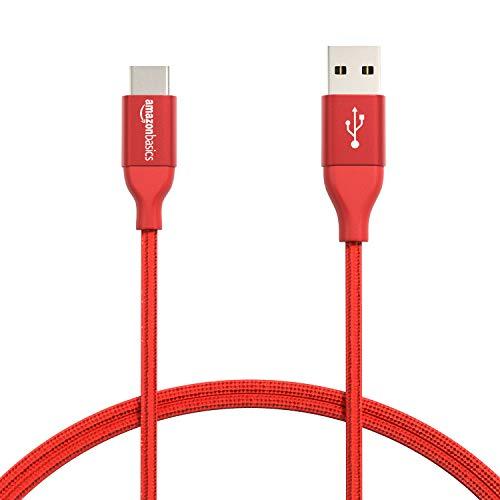 AmazonBasics - Verbindungskabel, USB Typ C auf USB Typ A, USB-2.0-Standard, doppelt geflochtenes Nylon, 0,9 m, Rot