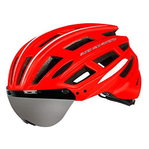 WWMH Casco para Bicicleta Casco para Adultos Ajustable con Gafas magnéticas y...