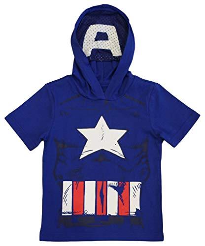 Marvel Avengers Little Boys' Toddler Captain America Hooded Tee with Mask (3T), Royal