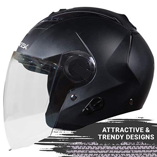 Steelbird SBA-3 R2K Classic Open Face Helmet with Plain Visor (Large 600 mm, Black), ABS
