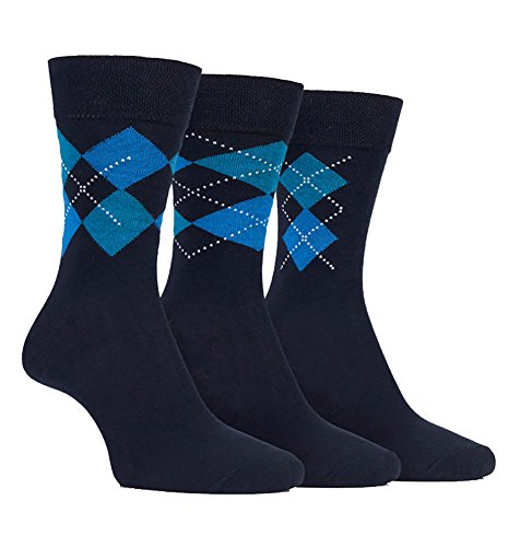 FARAH® - 3 Paar Herren Elegante Gemustert Farbig Bunt Baumwolle Comfort Premium Business Socken/Verschiedene Farben (39-45 EU, CS116NVY (Argyle))