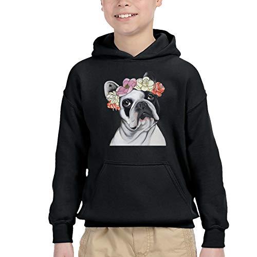 CaNaCa Frenchie French Bulldog Toddler Boys Girls Sweater Hoodie Sweatshirt Winter Clothes 2-6t Black