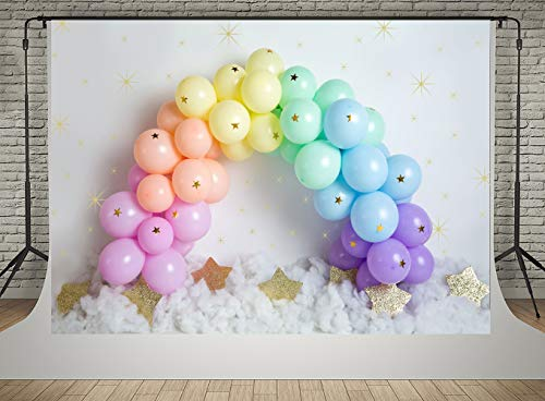 Kate 7x5ft Happy Birthday Photography Backdrops Colorful Ballons Door Banner Photo Studio Backgrounds Golden Stars Baby Shower Background