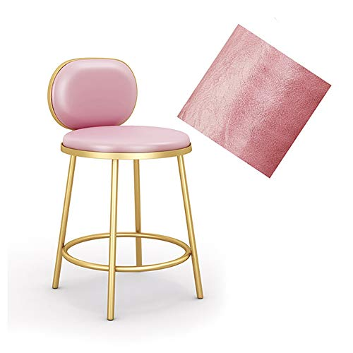 Tabouret en mousse PU Coussin Tabouret surface (siège Hauteur 58cm) Alu alliage trépied for le maquillage des yeux Bijoux Bar Stool (Color : Pink)