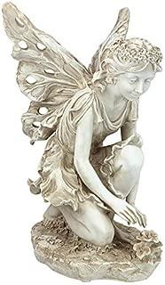 Design Toscano KY71004 Fiona The Flower Fairy Garden Statue, 17 Inch, Antique Stone