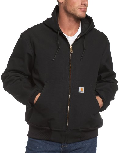 Carhartt Men's Thermal Lined Duck Active Jacket J131 (Regular and Big & Tall Sizes), Black, X-Large