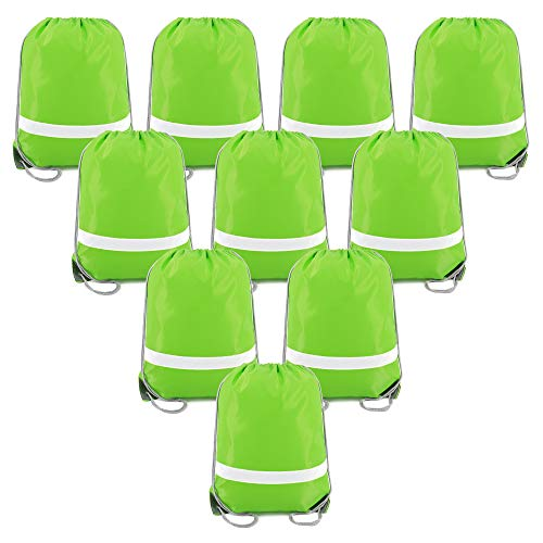 Drawstring Backpack Bags Reflective Bulk Pack, Promotional Sport Gym Sack Cinch Bags (10 Green)
