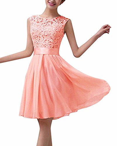 ZANZEA Damen Spitze Ärmellos Party Club Kurz Slim Abend Brautkleid Cocktail Ballkleid Rosa EU 44/US 12