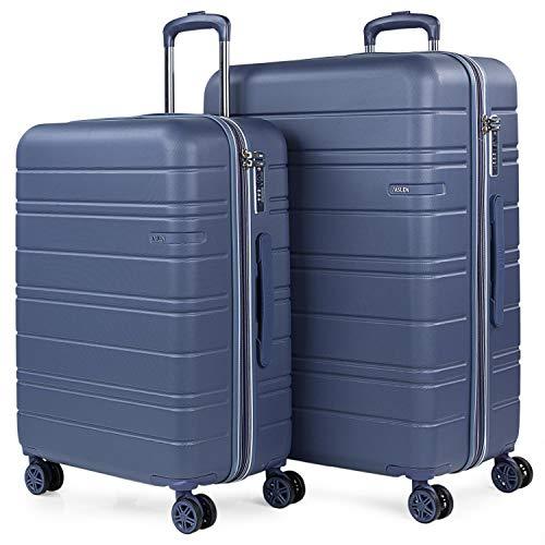 JASLEN - Stijve kofferset met Travel USB 4 wielen Trolley ABS. Uitbreidbaar Comfortabel en licht hard. TSA-slot. Middelgrote en grote maten 171216, Color Blauw