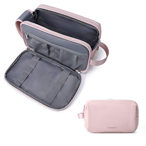 Toiletry Bag for Women, BAGSMART Travel Toiletry Organizer Dopp Kit Water-resistant Shaving Bag for Toiletries Accessories, Pink