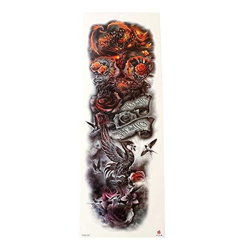 Brazo grande manga tatuaje medianoche leopardo belleza chica impermeable tatuaje temporal luz de la luna rosa