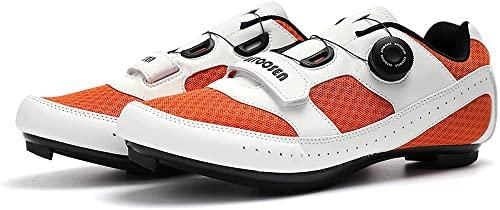 KUXUAN Zapatillas de Ciclismo de Carretera para Hombre Zapatillas de Bicicleta de Moda para Mujer Zapatillas de Pelotón Transpirables de Malla Ligera y Transpirable,Orange-36EU