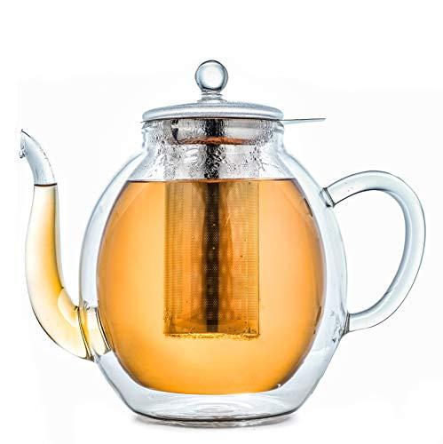 Creano doppelwandige Glas-Teekanne 1,4l mit Edelstahlfilter - tropffrei.