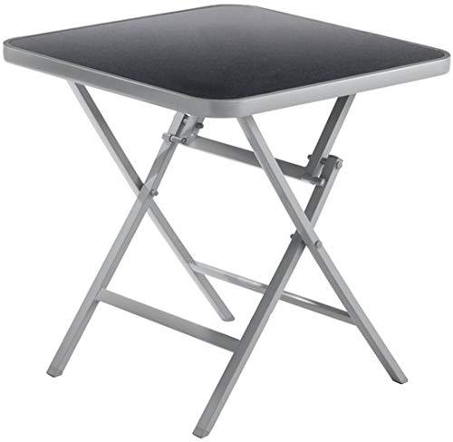 Aluminium Klapptisch Glastisch Tischplatte aus Sicherheitsglas mit gehärteter Glasplatte ideal für Balkon Garten oder Terrase (70 x 70 x 70 cm)