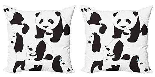 ABAKUHAUS Zoo Set de 2 Fundas para Cojín, Pandas bebé, con Estampado en Ambos Lados con Cremallera, 60 cm x 60 cm, Gris carbón Negro