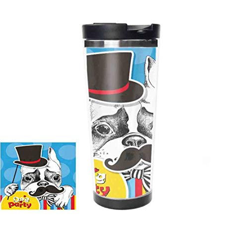 14oz(413ml) French Bulldogs Insulated Water Bottle Stainless Steel Double Wall, Animal Blue Vacuum Thermos Flask Bottles Sports Coffee Travel Mug Cup BPA Free