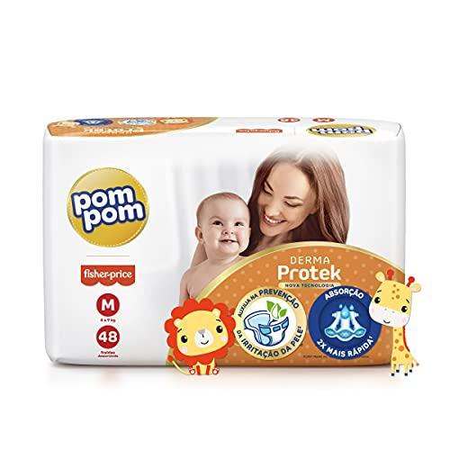 Fralda Pom Pom Derma Protek Mega M 48Un, Pom Pom, Laranja, Médio