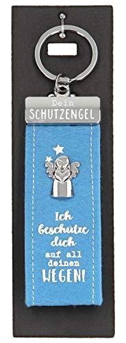 Depesche 10890.012 Schlüsselanhänger aus Filz, mit Schutzengel und Aufschrift, Ich beschütze Dich auf All deinen Wegen, blau, ca. 15 cm