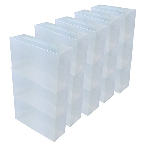 DynaSun 15x PP368T Cajas de Almacenaje para Zapatos Apilable Plegable Contenedor Organizador Transparente para Hombres Damas y Señoras