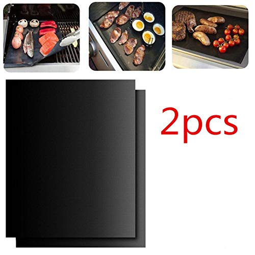 HJCWL Grill Mat 44X33CM Non Stick Teflon BBQ Grill Liners Oven Grill Folie Barbecue Liner Herbruikbare Mat Bbq Gereedschap Bbq Accessoires, 2 stuks