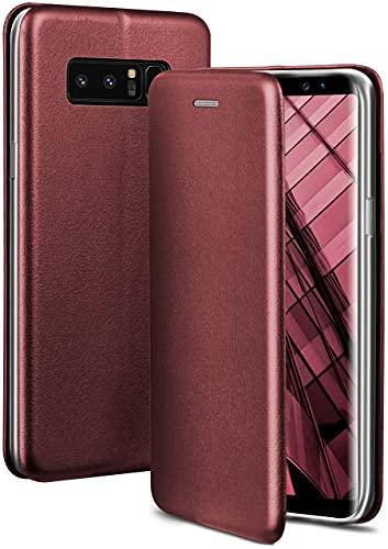 ONEFLOW Handyhülle kompatibel mit Samsung Galaxy Note8 - Hülle klappbar, Handytasche mit Kartenfach, Flip Hülle Call Funktion, Leder Optik Klapphülle mit Silikon Bumper, Weinrot