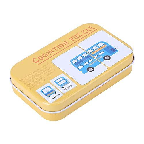 Drfeify Tarjeta de Emparejamiento de Educación Tempran, Vehículo / Animal / Fruta / Artículos Vivos Aprendizaje Tarjetas de Entrenamiento Juguete Educativo para Bebés con Caja de Hierro(Vehículo)