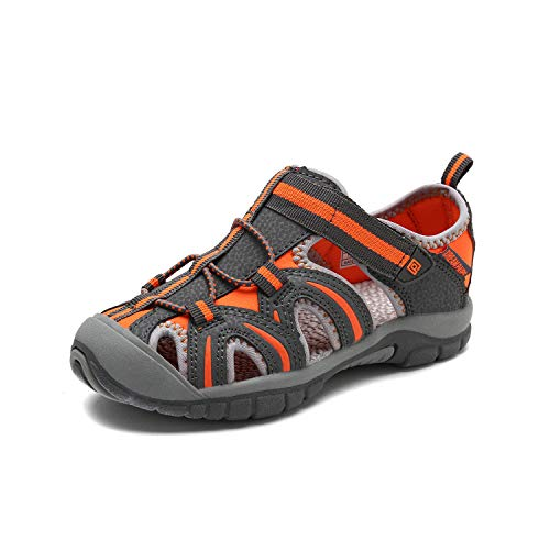 DREAM PAIRS Boys Girls 171112-K Grey Orange Light Grey Outdoor Summer Sandals Size 12 M US Little Kid