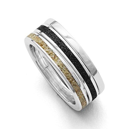 Dreier-Ring Marina Strandsand, Lavasand, Sterling-Silber 925 (58 (18.5))
