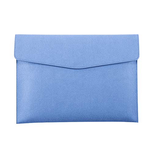 Enyuwlcm PU Leather A4 File Folder Document Holder Waterproof Portfolio Envelope Folder Case with Snap Closure Blue