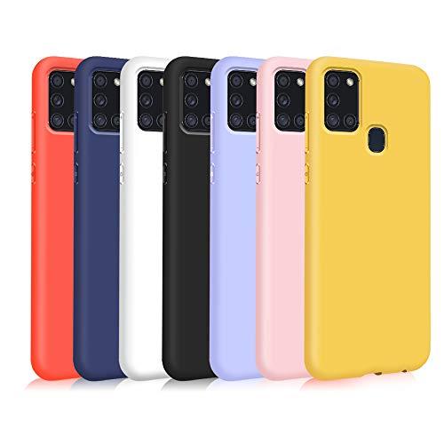 TVVT 7X Compatibile con Cover Samsung Galaxy A21S, Ultra-Sottile Colore Silicone Morbido TPU Custodia Anti-Urto Anti-Graffio Cellulari Protezione Paraurti Leggero - Sette Colori