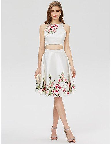 HY&OB Jewel Hals Kurz/Satin Cocktail Kleid Mit Bestickten Drucken, Paradies, Rosa, Us2/Uk6/Eu32