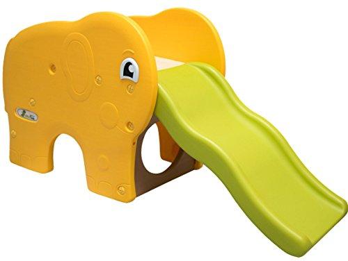 Little Tom Kinderrutsche Elefanten Kinder Rutsche extra breite Stufen Wellenrutsche Gartenrutsche Babyrutsche Grün Gelb