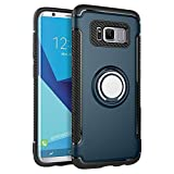 yeuk Phone case for Samsung Galaxy S8 Protective Cover, Full Body Heavy Duty Protection with 360°+120° Ring Holder, Slim Shockproof Cover for Magnetic Car Mount (Blue, S8)