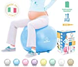 Baby Bump   Birth Ball with Base Legs - Stability/Balance/Stand, Anti-Burst with Pump, Exercise During Pregnancy, Prenatal Fitness, Induces Labor, Soothes Babies - 65 cm - Baby Blue