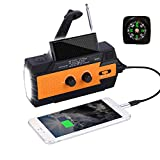 Emergency Solar Hand Crank Portable NOAA Weather Radio with AM/FM, LED Flashlight, Motion Sensor Reading Lamp, 4000mAh Power Bank USB Cell Phone Charger and SOS Alarm 2020 Updated Version
