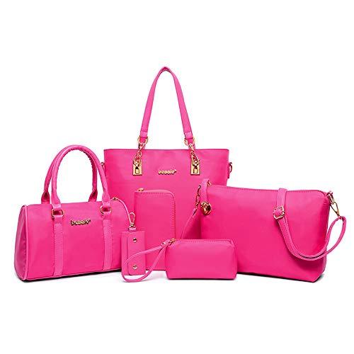 AlwaySky Nylon Damen Schultertasche Henkeltaschen Handtasche Tote Geldbörse Brieftasche Schlüsselfall Sechsteiliges Set Rosa
