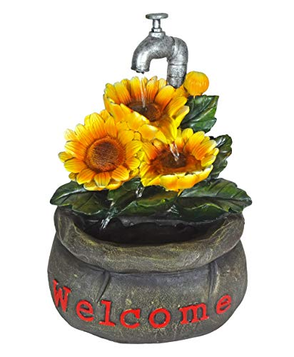 ImagiWonder Tabletop Fountain Water Falling Flowers Welcome Sack