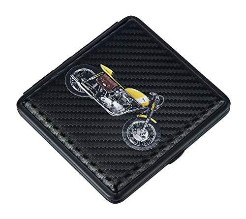 ZIGARETTENETUI Motorrad Motor Bike für 20 Zigaretten Leder Zigaretten Etui Zigarettenbox Case 4-Varianten 72 (Gelb)