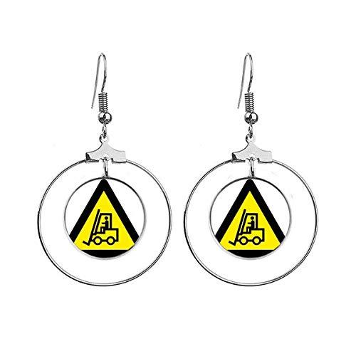 Waarschuwing Symbool Geel Zwart Heftruck Driehoek Oorbellen Dangle Hoop Sieraden Drop Cirkel