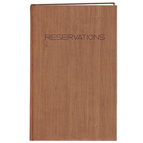 BookFactory Restaurant Reservations Book, 365 Day Table Reservations, Dinner Reservations Book, 408 Pages 8 7/8' x 13 1/2', Soft Touch Wood Finish Cover Case Bound (LOG-408-OCS-AXE94000(Reservations))