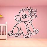 Película de dibujos animados Rey León Lindo Bebé Divertido Simba Jugando Beso Mariposa Etiqueta de la pared Vinilo Arte Calcomanía Niño Niños Guardería Dormitorio Sala de estar Decoración para el