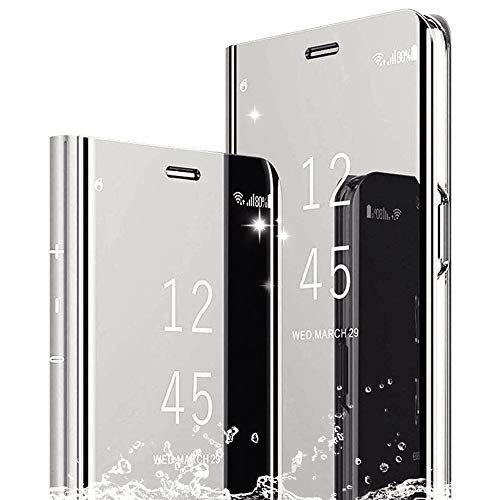 DAYNEW Funda para XiaoMi Mi 8 Lite/XiaoMi Mi 8X,Ultra-Delgado,360 °Protection Inteligente Espejo tirón del Caso Cáscara para XiaoMi Mi 8 Lite/XiaoMi Mi 8X-Silver