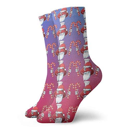 Grappige Crazy Crew Sock Kerstman met Snoep Rode Wijn Decanter Gedrukt Sport Atletische Winter Warm Sokken 30 cm Lange Gepersonaliseerde Gift Sokken