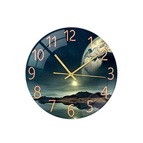 Wanduhren Wohnzimmer Digital Wanduhr Acryl Mute Kreative Uhr Leise Funk Wanduhr Funkuhr modernes Desig Lautlos für Wohnzimmer, Küche, Büro und Schlafzimmer (E)